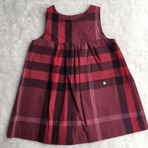 New Burberry Baby Red Plaid Dress Size 12 M